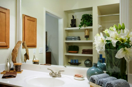 Comfortable Bathrooms with Large Mirrors at Round Rock Texas Apartments