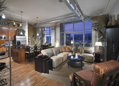 Living Room at Dallas High Rise Apartments