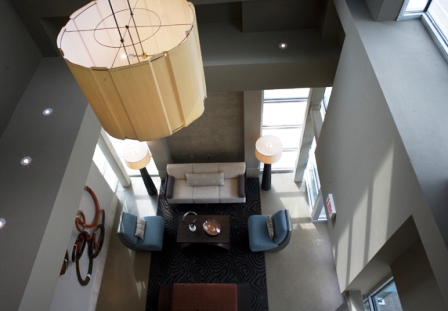 Downward View of Interior at The Lofts at the Triangle