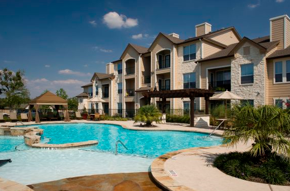 Pool View of Camden Amber Oaks Apartments