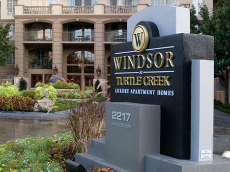 Entrance to Windsor at Turtle Creek Apartments