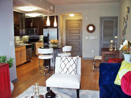 Fashionable Living Area for Downtown Austin Apartment Residents