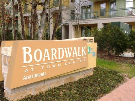 Entrance to Boardwalk at Town Center Apartments in The Woodlands, TX