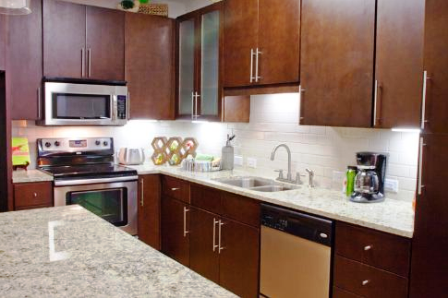 Island Kitchens with Bamboo Flooring at Austin, TX Gables Apartments