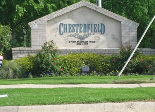 Entrance Sign for Chesterfield Apartments