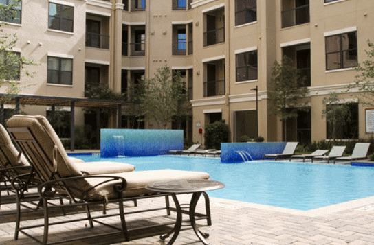 Sparkling Pool at these Apartments in The Woodlands, TX