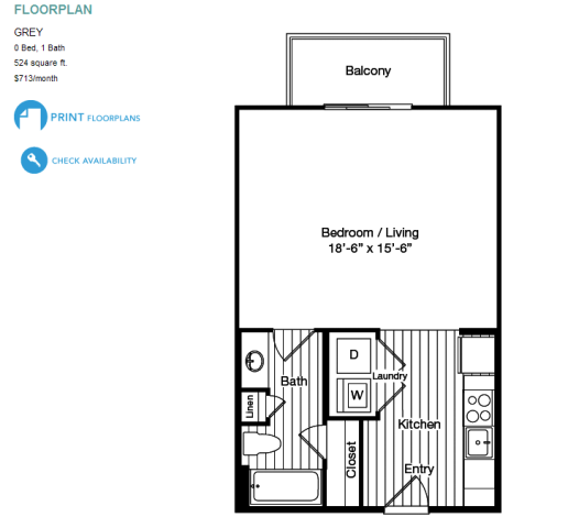 21 forty medical district apartments dallas tx 75235 Efficiency apartment floor plan