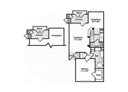 1 1 Floor Plan At Riviera West Village Dallas Apartments