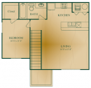 1 Bedroom, 1 Bath Floor Plan
