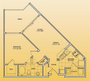 Open One Bedroom Floor Plan