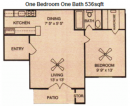 One Bedroom One Bath at Fossil Creek Apartments