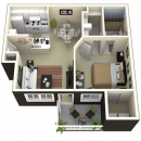 664 square feet 1-1 apartment