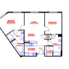 Two Bedroom, Two Bathroom Layout for Lease at Post Midtown Square