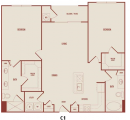 2-2 Apartment Floor Plan in Houston Medical Center