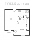 1-1 apartment, 1 bedroom apartment, floor plan, the zone at east end apartments