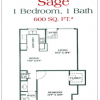 Sage Floor Plan 1-1 Apartment