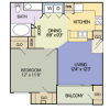 1 Bedroom Apartments in Cedar Park - The Travis Floor Plan