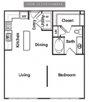 One Bedroom One Bathroom Loft Apartment Floor Plan