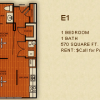 One Bedroom Floor Plan for Rent