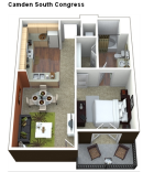 The Lamar 1-1 Apartment Floor Plan in SoCo Austin