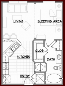 1 Bed 1 Bath A1 Floor Plan at Briar Forest Lofts