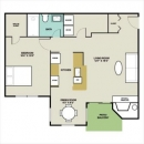 1-1 Apartment Floor Plan in Plano, Texas