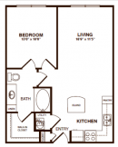 One Bedroom, One Bathroom Apartment 670 sq. ft.