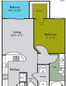 One Bedroom, One Bathroom, A1, 1-1 Floor Plan
