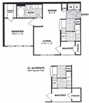 One Bed, One Bath Floor Plan
