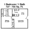 One Bedroom Floor Plan at Houston Galleria Apartments
