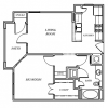 One Bed, One Bath Apartment Floor Plan