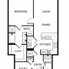 1 Bed, 1.5 Bath Floor Plan