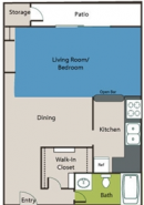 Studio 0-1 Apartment Layout