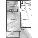 All Electric Kitchen in this 1-1 Apartment Floor Plan