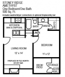 1 Bed Amethyst Floor Plan at Stoney Ridge Apartments