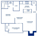 One Bedroom Floor Plan in Grapevine