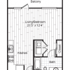 1 Bedroom, 1 Bathroom E1 Plan - The ICON at Ross Apartments