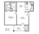 A1 Apartment Floor Plan - Oaks at Valley Ranch