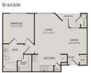 1-1 apartment, one bedroom floor plan, bramble floor plan, legends at lowes farm apartments, mansfield tx apartments for rent